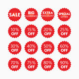 Red star retail and shopping SALE and percentage tags icons set. On white background Royalty Free Stock Photography
