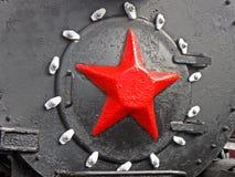 Red star,retro steam engine (boiler),nostalgia,. Red star on metal retro steam engine (boiler), nostalgia details Stock Photo