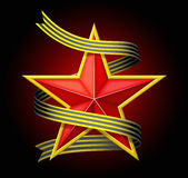 The red star with a ribbon. Royalty Free Stock Photography
