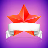 Red star with ribbon. Royalty Free Stock Photos