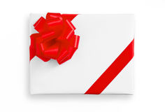 Red star ribbon on White paper box Stock Photo