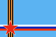 Red star of Russian armed forces with intersection St. George ribbon and Russian flag on blue background Stock Photo