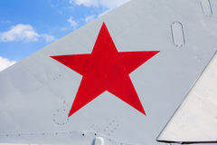 Red star on side of airplane Stock Photos