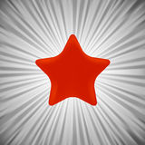 Red Star. Single Red Star on Grey Rays Background Stock Photography