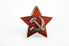 Red star Soviet army. The distinction of the Soviet army in the form of red star on a white background Stock Image