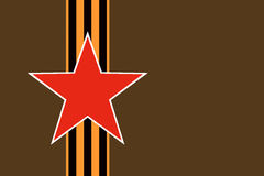 Red star of Soviet and Russian armed forces with vertical St. George ribbon on dark green khaki protective camouflage background Stock Photography