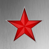 Red star on steel background. EPS 8 Royalty Free Stock Images