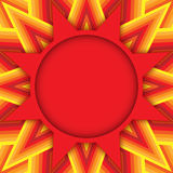 Red star text or photo layout on decorative background of red, orange and yellow shades Stock Photo