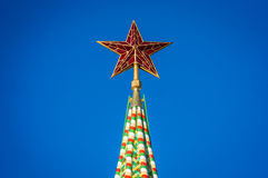 Red star on the top of the Kremlin in Moscow Stock Photography