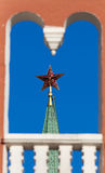 Red star on the top tower Stock Photos