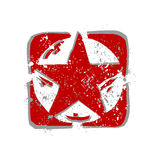 Red star (vector). Red star sign with grungy dots Stock Photo