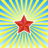 Red star on a yellow-blue background-vector Stock Photos