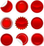 Red starbursts set Stock Images