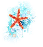 Red starfish. Artistically painted red starfish with sea shells and coral blue on a white background Stock Photo