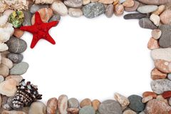 Red starfish and  multicoloured pebbles isolated Stock Image