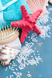 Red starfish with sea spa treatment setting royalty free stock photography