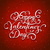 Red starry background and Happy Valentines Day. White lettering Happy Valentines Day on red starry background, illustration Royalty Free Stock Photo