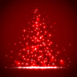 Red starry background. Red background with shining stars and blurry lights, illustration Stock Photos