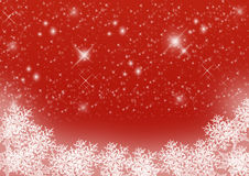 Red starry Christmas background with snowflakes Stock Photography