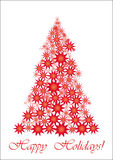 Red Starry Christmas tree. All your friends worldwide will understand wish of Happy Holidays, vector illustration Stock Images
