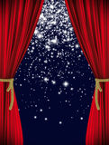 Red starry curtain Stock Photo