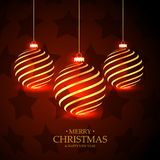 Red stars background with hanging golden christmas balls. Vector Stock Photography