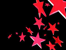 Red stars on black background. Flying red stars on black background Royalty Free Stock Image