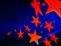 Red stars on blue background. Flying red stars on blue background Royalty Free Stock Photos