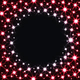 Red Stars on Dark Background. Vector Shiny Texture with Circle Place for Text Royalty Free Stock Images