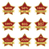 Red stars labels Royalty Free Stock Photography