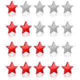 Red stars. Rating levels. Vector 3d illustration on white background vector illustration