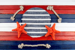 Red stars and rope cuts. Stock Photo
