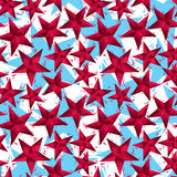 Red stars seamless pattern, geometric contemporary style repeati Royalty Free Stock Images
