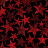Red stars seamless pattern, vector repeating background with han Stock Images