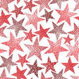 Red stars seamless pattern, vector repeating background with han Royalty Free Stock Image