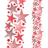 Red stars seamless pattern, vertical composition, vector repeati Royalty Free Stock Images