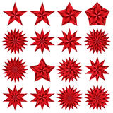 Red stars set. Pentagonal. Stock Photography