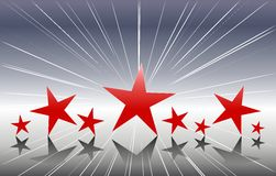 Red Stars on Silver Background Stock Photos