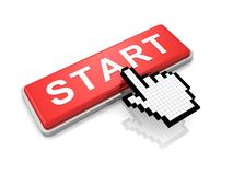 Red start button and classic hand cursor on white Stock Images