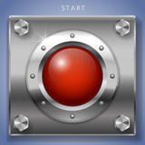 Red start button ignition. Big red round button ignition, turn on or start. Vector graphics Stock Images
