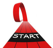 Red starting line loop. With black lines, 3d generated stock illustration