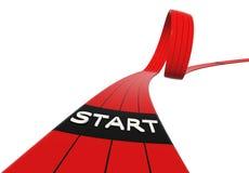 Red starting line loop horizontal. Red starting line loop, horizontal image, 3d generated royalty free illustration
