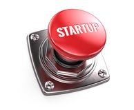 Red startup button - start up concept. 3d render Royalty Free Stock Photos
