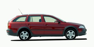 Red station wagon Stock Images