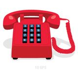 Red stationary phone with button keypad. Vector illustration Royalty Free Stock Photo