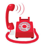 Red stationary phone with rotary dial and raised handset Royalty Free Stock Images