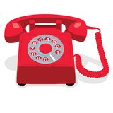 Red stationary phone with rotary dial. Royalty Free Stock Photos