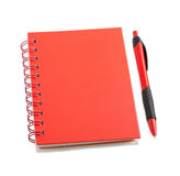 Red stationery style. Red notepad with color pen isolated on white background, identity design, corporate templates, company style Stock Photography