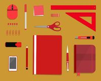 Red stationery on a yellow background. Top view of a desk. There is a smart phone, a folder, a planner, a ruler, a stationery knife, a marker and other objects Stock Image