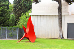 Red statue of Miro in Barcelona Stock Photos